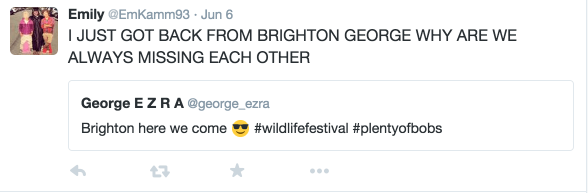 George Ezra in Houston tweet