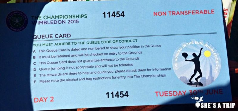 Wimbledon Queue Card Instructions