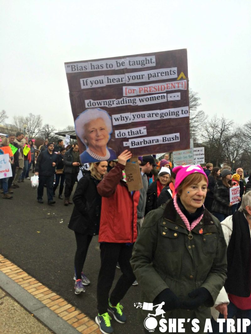 What was it like at the women's march on Washington Barbara Bush